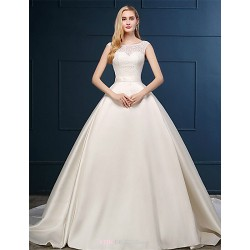 Ball Gown Wedding Dress Champagne Chapel Train Scoop Lace Satin