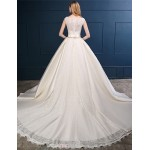 Ball Gown Wedding Dress - Champagne Chapel Train Scoop Lace / Satin Wedding Dresses