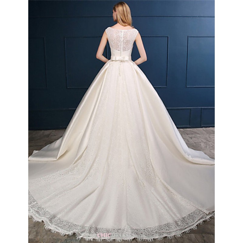 Ball Gown Wedding Dresses Uk: Champagne Chapel Train Scoop