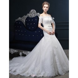 Trumpet Mermaid Wedding Dress Ivory Court Train Off The Shoulder Tulle