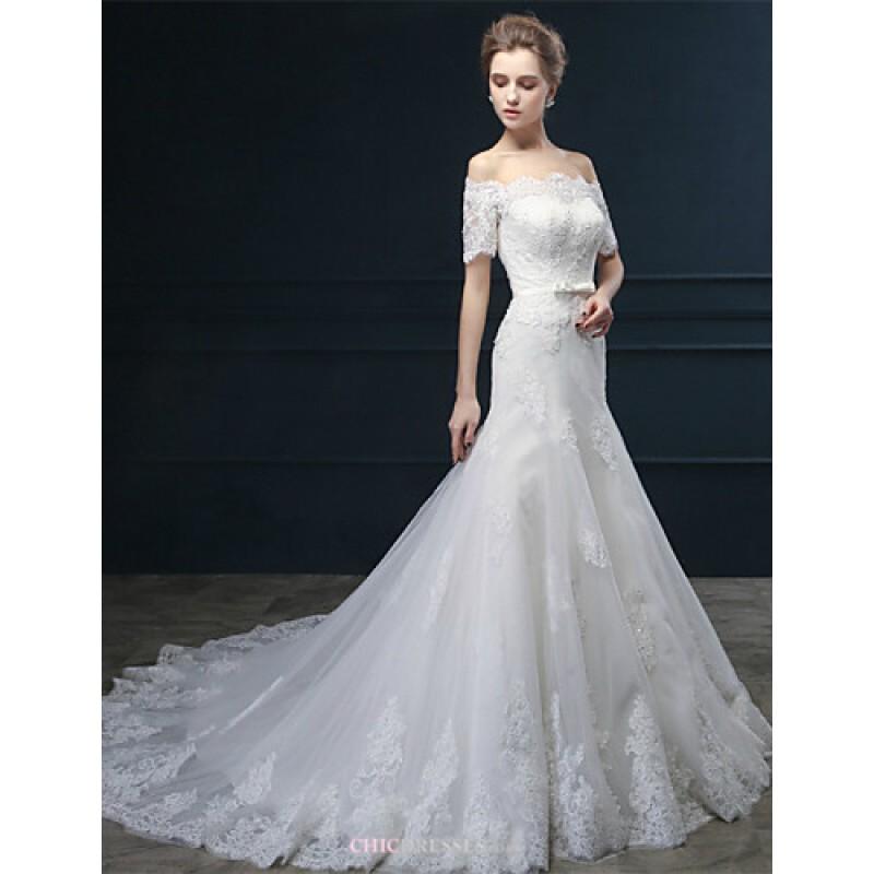Trumpet mermaid wedding dress ivory court train off the for Ivory trumpet wedding dress