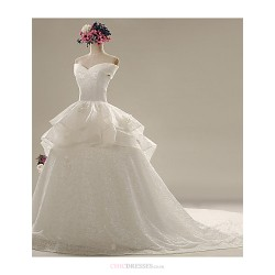 A Line Wedding Dress White Chapel Train Sweetheart Lace Satin
