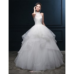 Ball Gown Wedding Dress - Ivory Floor-length Halter Tulle