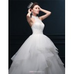 Ball Gown Wedding Dress - Ivory Floor-length Halter Tulle Wedding Dresses