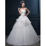 A-line Wedding Dress - Ivory Floor-length Strapless Tulle Wedding Dresses