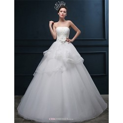 A Line Wedding Dress Ivory Floor Length Strapless Tulle