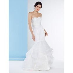 Fit & Flare Wedding Dress Ivory Sweep Brush Train Strapless Organza Satin