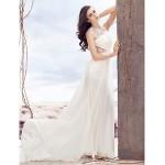 Sheath/Column Wedding Dress - Ivory Sweep/Brush Train Jewel Chiffon / Lace Wedding Dresses