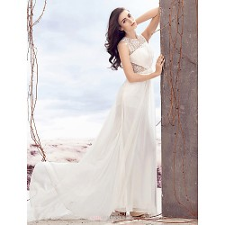 Sheath/Column Wedding Dress - Ivory Sweep/Brush Train Jewel Chiffon / Lace