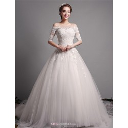 A-line Wedding Dress - Ivory N/A Off-the-shoulder Tulle