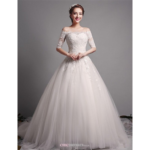 A-line Wedding Dress - Ivory N/A Off-the-shoulder Tulle Wedding Dresses