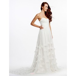 A Line Wedding Dress Ivory Cathedral Train Strapless Chiffon