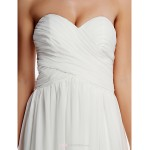 A-line Wedding Dress - Ivory Cathedral Train Strapless Chiffon Wedding Dresses