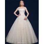 Ball Gown Wedding Dress - Ivory Floor-length Off-the-shoulder Tulle Wedding Dresses
