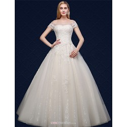 Ball Gown Wedding Dress Ivory Floor Length Off The Shoulder Tulle