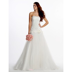Fit & Flare Wedding Dress Ivory Sweep Brush Train Strapless Lace Tulle