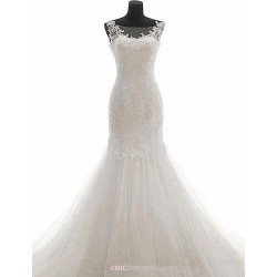 Trumpet Mermaid Wedding Dress White Sweep Brush Train Bateau Lace Tulle