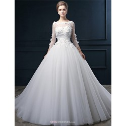 Ball Gown Wedding Dress - Ivory Court Train Bateau Tulle