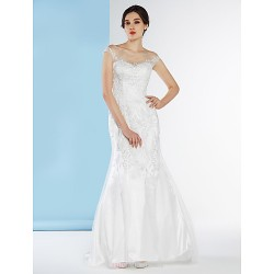 Trumpet Mermaid Wedding Dress Ivory Sweep Brush Train Scoop Tulle