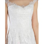 Trumpet/Mermaid Wedding Dress - Ivory Sweep/Brush Train Scoop Tulle Wedding Dresses