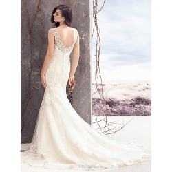 Sheath/Column Wedding Dress - Ivory Court Train Bateau Lace / Tulle