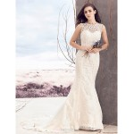 Sheath/Column Wedding Dress - Ivory Court Train Bateau Lace / Tulle Wedding Dresses