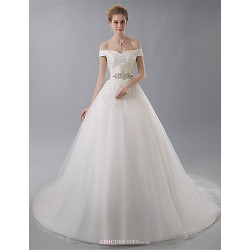 Ball Gown Wedding Dress Ivory Court Train Off The Shoulder Tulle