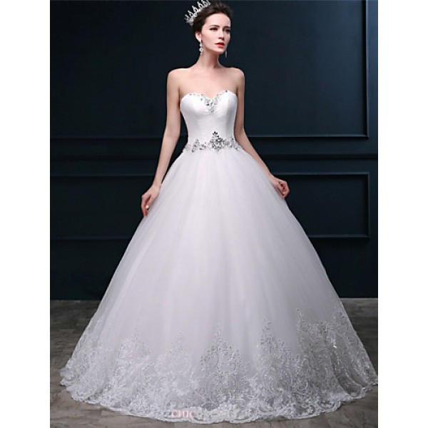 Ball Gown Wedding Dress - White Floor-length Sweetheart Tulle Wedding Dresses