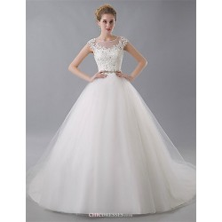 Ball Gown Wedding Dress - Ivory Court Train Jewel Tulle