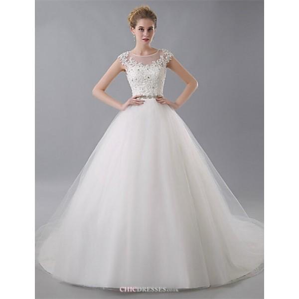 Ball Gown Wedding Dress - Ivory Court Train Jewel Tulle Wedding Dresses
