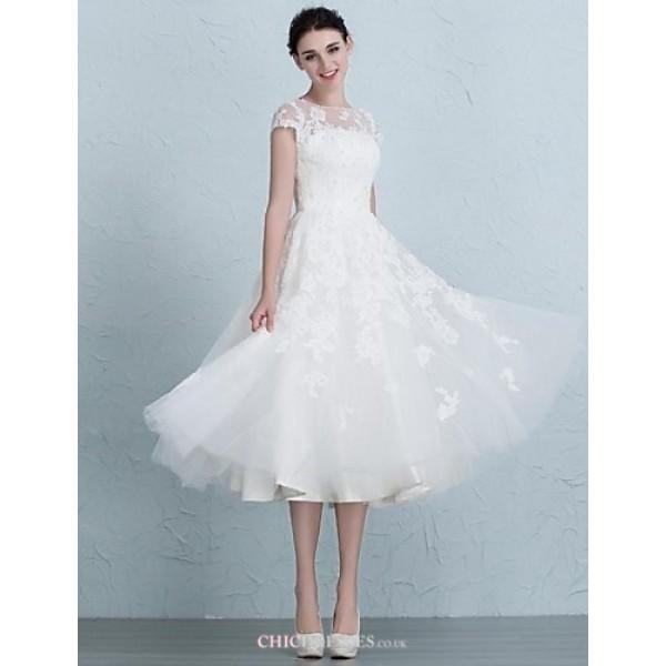 A-line Wedding Dress Tea-length Bateau Tulle Wedding Dresses