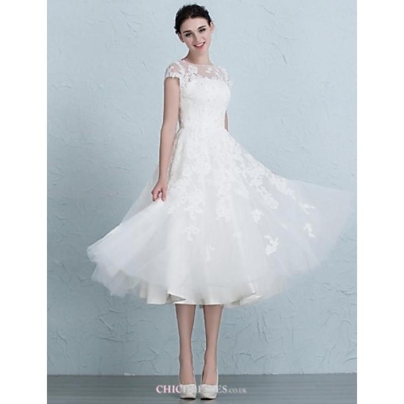 A-line Wedding Dress Tea-length Bateau Tulle,Cheap Uk Dresses Online ...