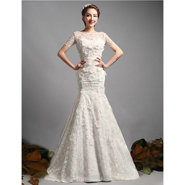 Trumpet Mermaid Wedding Dress Ivory Sweep Brush Train Bateau Lace Tulle