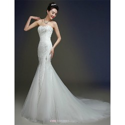 Trumpet Mermaid Wedding Dress Ivory Court Train Sweetheart Lace