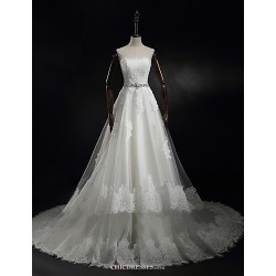 Princess A Line Wedding Dress Ivory Sweep Brush Train Strapless Tulle