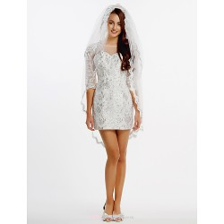 Sheath/Column Wedding Dress - Ivory Short/Mini Bateau Lace / Tulle