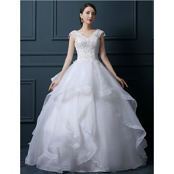 Ball Gown Wedding Dress White Floor Length V Neck Tulle