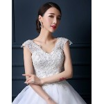 Ball Gown Wedding Dress - White Floor-length V-neck Tulle Wedding Dresses