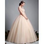 Ball Gown Wedding Dress - Champagne Floor-length V-neck Tulle Wedding Dresses