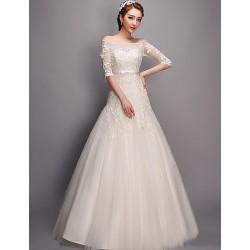 Trumpet Mermaid Wedding Dress Ivory Floor Length Bateau Tulle