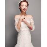 Trumpet/Mermaid Wedding Dress - Ivory Floor-length Bateau Tulle Wedding Dresses