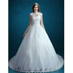 A-line Wedding Dress - Ivory Court Train High Neck Tulle Wedding Dresses