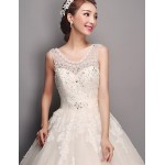 Ball Gown Wedding Dress - Ivory Floor-length Scoop Tulle Wedding Dresses