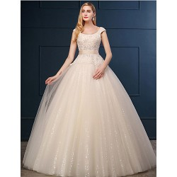 Ball Gown Wedding Dress Champagne Floor Length Scoop Lace Tulle