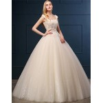 Ball Gown Wedding Dress - Champagne Floor-length Scoop Lace / Tulle Wedding Dresses