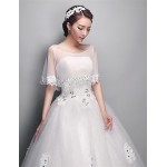 Ball Gown Wedding Dress Ivory Floor Length Scoop Tulle