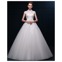 Ball Gown Wedding Dress Ivory Floor Length High Neck Satin Tulle