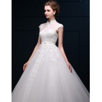 Ball Gown Wedding Dress - Ivory Floor-length High Neck Satin / Tulle Wedding Dresses