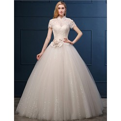 Ball Gown Wedding Dress Champagne Floor Length High Neck Tulle