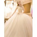 Ball Gown Wedding Dress - Champagne Floor-length High Neck Tulle Wedding Dresses